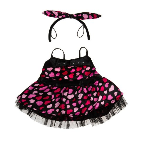 Black Lace trimmed Heart Dress with Headband