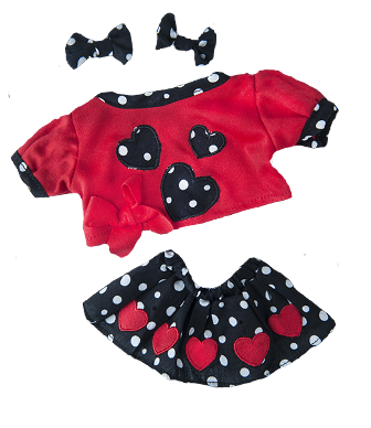Girls 3 piece Heart Outfit for 8 to 10 inch bears