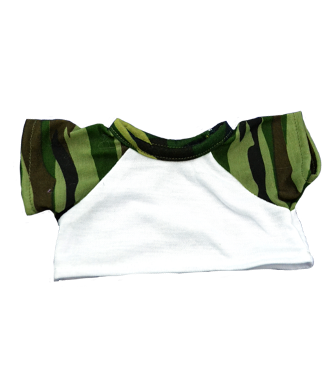 8 to 10 inch White Shirt with Camo Sleeves