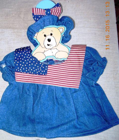 Flag Dress and Headband for 14-15 inch bears