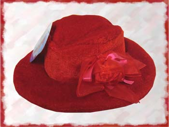 Red Crushed Velvet Hat with Rose