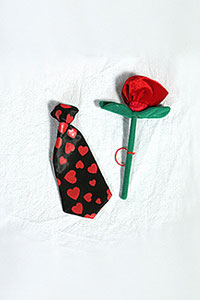 Heart Tie with Rose Flower