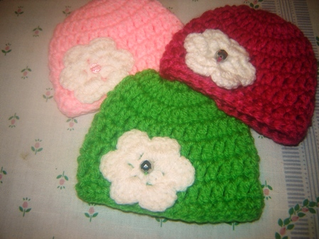 Green, Pink or Rose Crocheted Hat