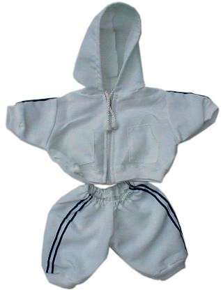 2 piece White Nylon Jacket and Pants for 14-15 inch bears