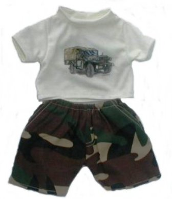 Army Tank Shirt and Camo Pants for 8 inch bear