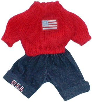 USA 2 piece outfit for 8 inch bears