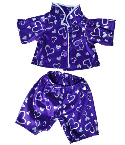 2 piece Purple with Silver Hearts Pajamas