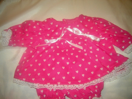 Tiny White Hearts on Pink Dress