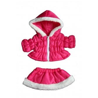 Pink Winter Parka and Skirt Set