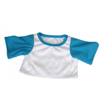 White Shirt with Turquoise Sleeves