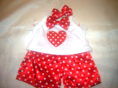 3 piece Heart Boxers, Shirt and matching Bows