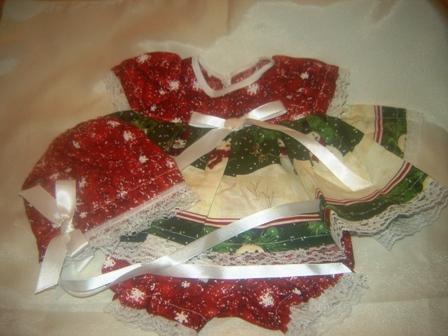 3 piece Lace Trimmed Snowman adorned Dress Outfit