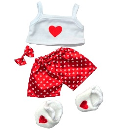 Girls 4 piece Satin Heart Pajamas Set for 8 to 10 inch bears