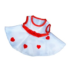 8-10 inch White Dress with Heart Appliques