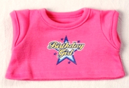 Pink Birthday Girl Shirt for 8-10 inch bears