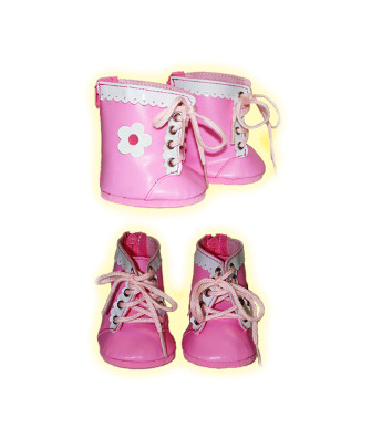 Pink Daisy Lace Up Boots