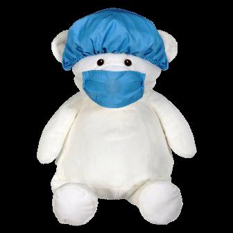 Blue Hospital Scrub Hat and Mask Set
