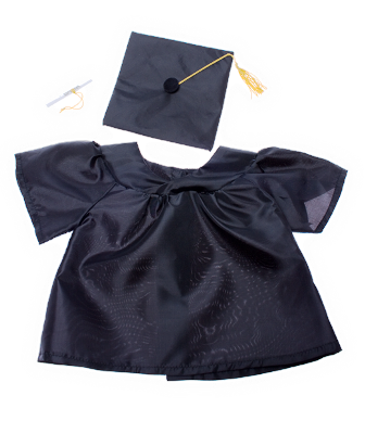 8-10 inch Black Graduation Gown and Cap
