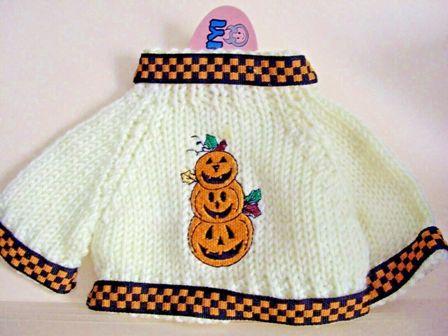 Pumpkin Trio Sweater with checkered trim