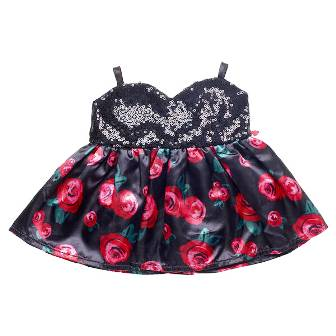 Black Sequined Rose Dress