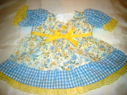 Blue and Yellow Floral and Gingham Dress