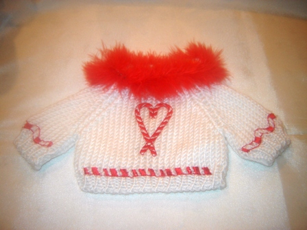 Boa trimmed Candy Cane Heart Sweater