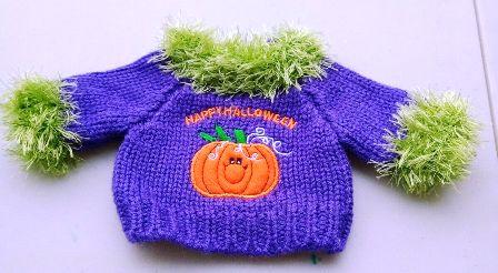 Boa Trimmed Happy Halloween Sweater