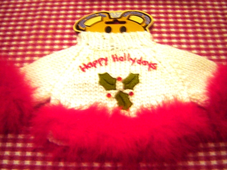 Boa Trimmed Happy Hollydays Sweater