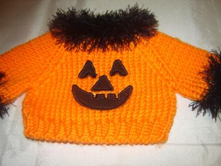 Boa Trimmed Pumpkin Face Sweater