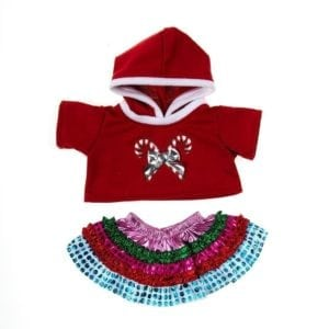 Hooded Double Candy Cane Top and Colorful Skirt Outfit