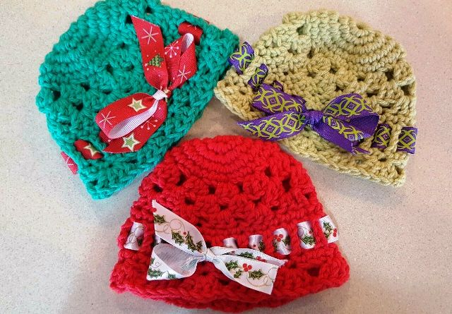 Crocheted Hats with Ribbon