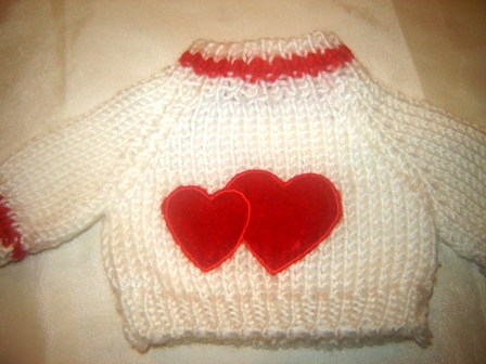 Double Red Hearts on White Sweater