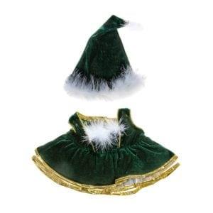 Green Velvet Christmas Dress and Boa Trimmed Hat
