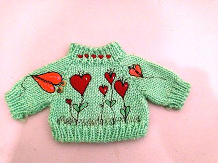 Green Garden of Hearts Sweaters