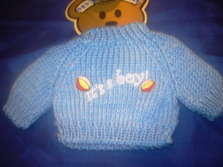 It's a Boy White on Blue Sweater