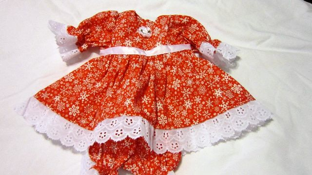 Lace Trimmed Red Snowflake Dress