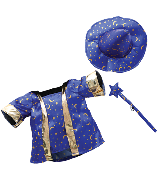 8- 10 inch 3 piece Wizard Outfit with Gold Trim