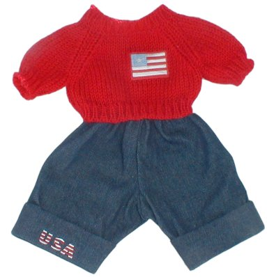 Flag Sweater and USA Pants Outfit for 14-15 inch bears