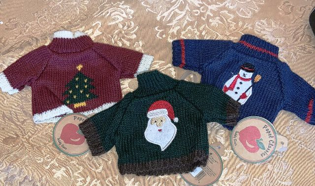 New! Papel Classics Holiday Sweaters for 6 inch bears