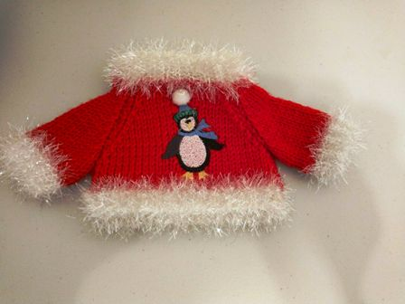 Boa Trimmed Penguin Sweater