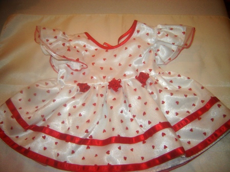 Red Rosebuds and Heart Party Dress