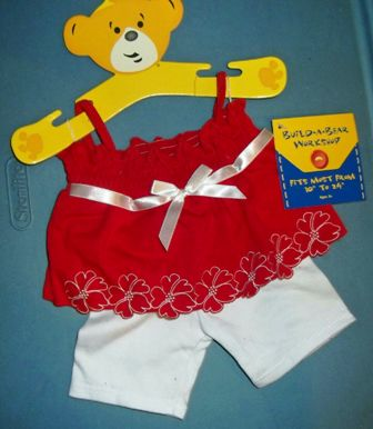 2 piece Red Top and White Capri Pants