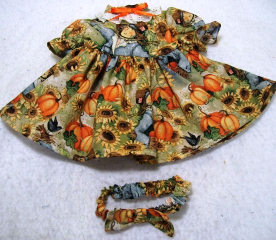 Scarecrows and Pumpkins Dress and Headband