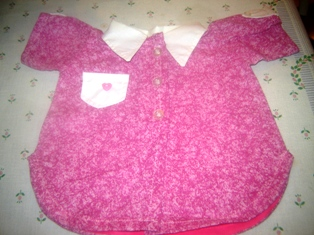 Pink and White Shirt Tail Top