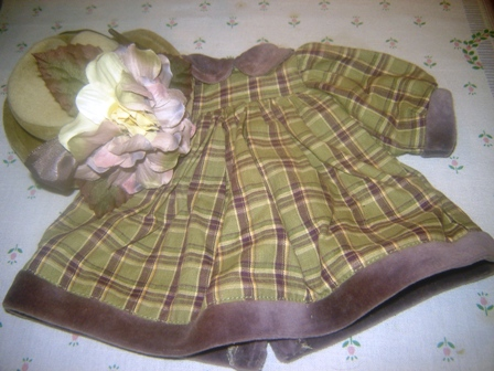 Vintage Green and Purple Plaid Dress and Flower headband