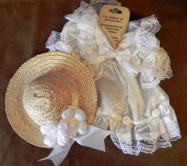 White Rosebud and Lace Dress with Matching Hat