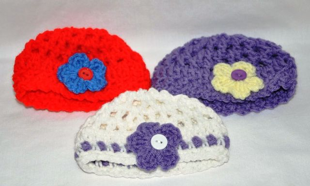 Red, White or Purple Crocheted Hats